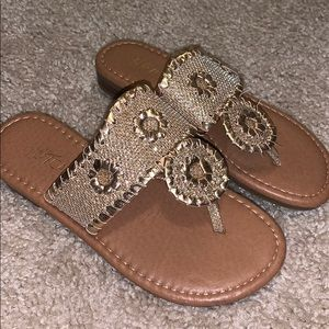 Gold Jack Rogers look alike sandals